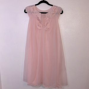 Vintage Gotham pink feminine 50's sheer nightgown